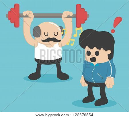 Cartoon concept exercise Weight lifting vector eps .10 Illustration