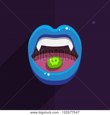 Vampire mouth with open red lips and long teeth on black background. Halloween Background. Vector Illustration.