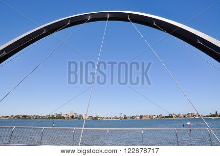 PERTH,WA,AUSTRALIA-FEBRUARY 13,2016: View of South Perth From the The Elizabeth Quay suspension bridge overlooking  the Swan River in Perth, Western Australia.