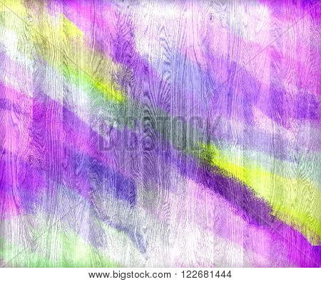 Violet yellow green painted wood wall texture or background