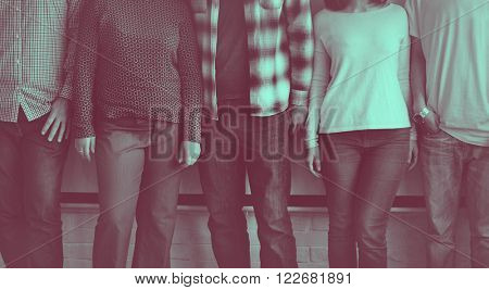 People Friends Standing Fashion Style Concept