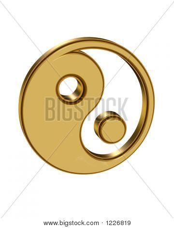 3 Dimensional Yin Yang Symbol In Gold