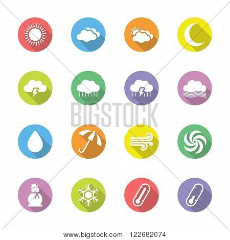 colorful flat weather forecast icon set on circle with shadow for web design user interface (UI) infographic and mobile application (apps)