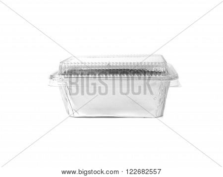 Aluminum foil container with transparent covered cap bakery packaging isolated