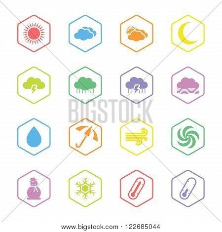 colorful flat weather forecast icon set with hexagon frame for web design user interface (UI) infographic and mobile application (apps)