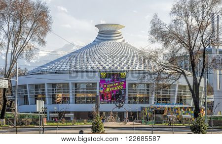 ALMATY KAZAKHSTAN - MARCH 21 2016: Building of Circus. Was built in 1972. Almaty is the largest city in Kazakhstan and was the country's capital until 1997.