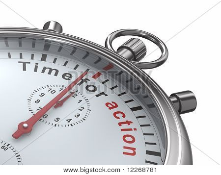 Time For Action. Stopwatch On White Background. Isolated 3D Image