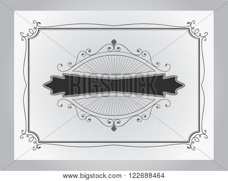 Simple black and grey vintage border vector template.