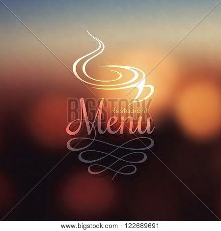 Restaurant menu design on blurred background