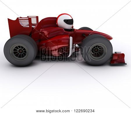 3d render of Morph man with open wheeled racing car