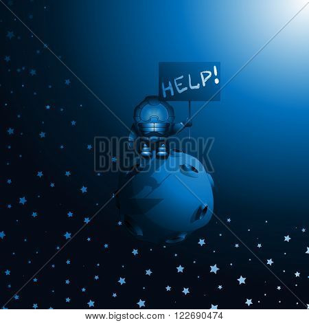 Cartoon cosmonaut. Astronaut drifts in space on an asteroid and waiting for help. Vector illustration 10 EPS