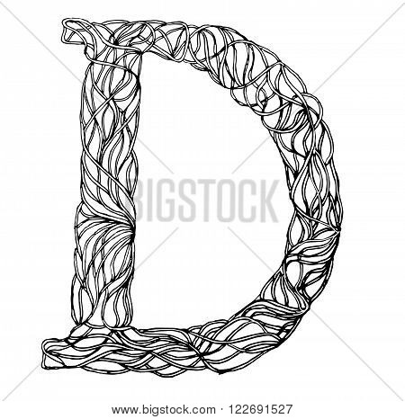 Herbarium font, type. Herbal vector letters. Letter D . Can be used as adult coloring book, coloring page.