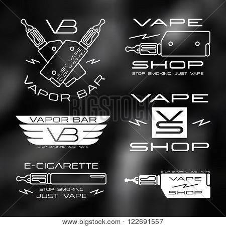 Vapor bar and vape shop logo in thin line style. White print on blurred background