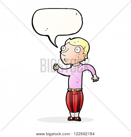 cartoon man in loud clothes with speech bubble