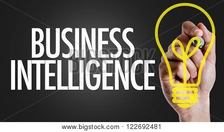 Hand writing the text: Business Intelligence