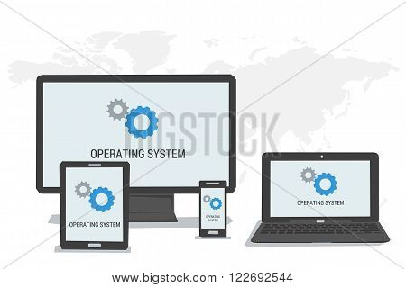 Vector concept operating system on the screen of computer tablet laptop smartphone. Flat style. Web infographics
