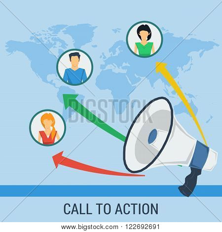 Vector business concept call to action. People icon set on world map with megaphone with growth schedule and abstract lines. Flat style. Infographic