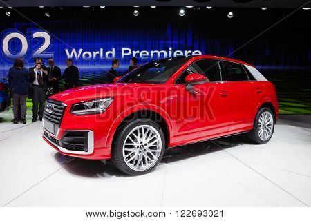 GENEVA, SWITZERLAND - MARCH 1: Geneva Motor Show on March 1, 2016 in Geneva, Audi Q2, front-side view