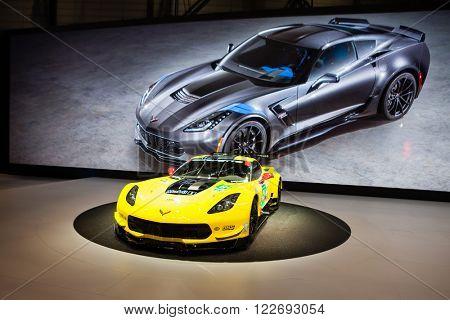 GENEVA, SWITZERLAND - MARCH 1: Geneva Motor Show on March 1, 2016 in Geneva, Chevrolet Corvette Z06, front-side view