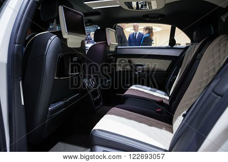 GENEVA, SWITZERLAND - MARCH 1: Geneva Motor Show on March 1, 2016 in Geneva, Bentley Mulsanne EWB, rear seat interior view