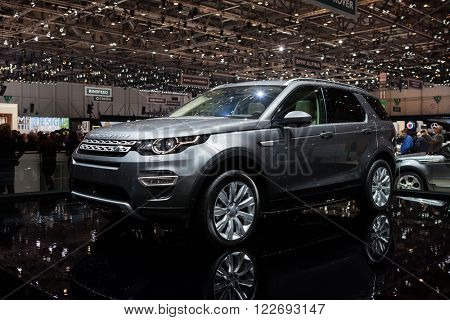 GENEVA, SWITZERLAND - MARCH 1: Geneva Motor Show on March 1, 2016 in Geneva, Land Rover Discovery Sport, front-side view