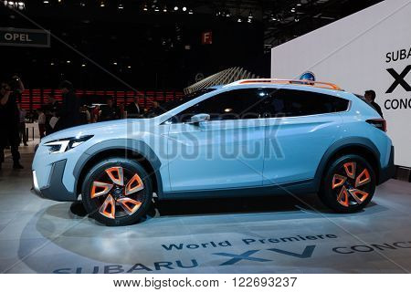 GENEVA, SWITZERLAND - MARCH 1: Geneva Motor Show on March 1, 2016 in Geneva, Subaru XV concept, side view