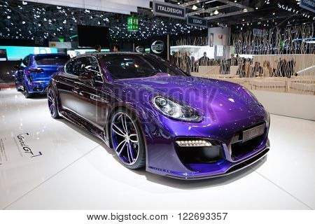 GENEVA, SWITZERLAND - MARCH 1: Geneva Motor Show on March 1, 2016 in Geneva, TechArt Grand GT based on Porsche Panamera Turbo, front-side view