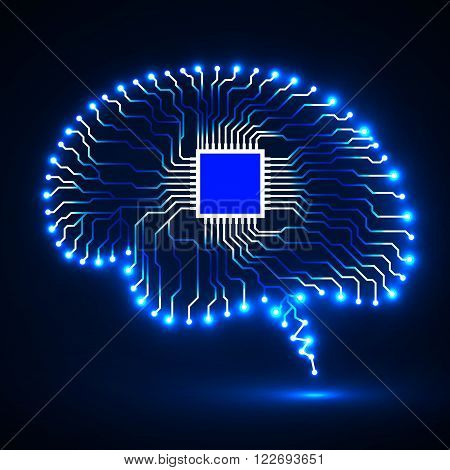 abstract brain, cpu, circuit board, technology background