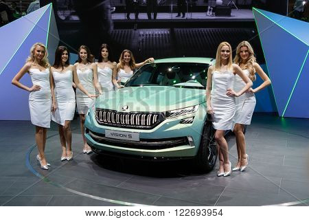 GENEVA, SWITZERLAND - MARCH 1: Geneva Motor Show on March 1, 2016 in Geneva, Skoda Vision S Concept, front-side view