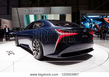 GENEVA, SWITZERLAND - MARCH 1: Geneva Motor Show on March 1, 2016 in Geneva, Lexus LF-FC Concept, rear-side view