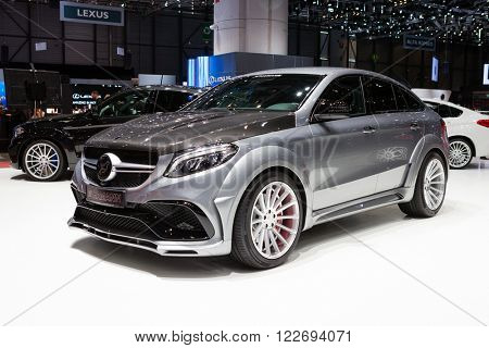 GENEVA, SWITZERLAND - MARCH 1: Geneva Motor Show on March 1, 2016 in Geneva, Hamann Mercedes-Benz GLE Coupe, side-front view