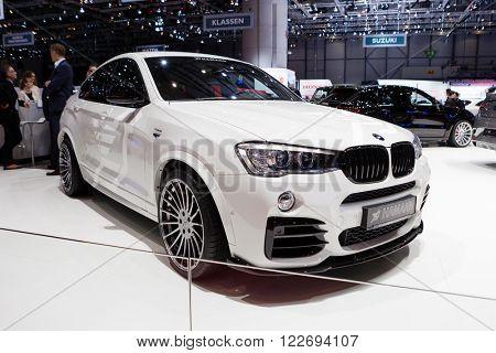 GENEVA, SWITZERLAND - MARCH 1: Geneva Motor Show on March 1, 2016 in Geneva, Hamann BMW X4, side-front view