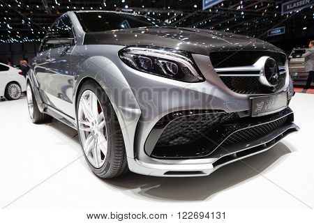 GENEVA, SWITZERLAND - MARCH 1: Geneva Motor Show on March 1, 2016 in Geneva, Hamann Mercedes-Benz GLE Coupe, front-side view