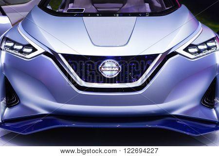 GENEVA, SWITZERLAND - MARCH 1: Geneva Motor Show on March 1, 2016 in Geneva, Nissan IDS Concept, front view