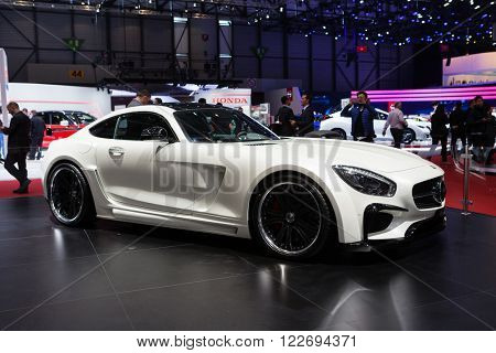 GENEVA, SWITZERLAND - MARCH 1: Geneva Motor Show on March 1, 2016 in Geneva, FAB Design Mercedes-AMG GT, side-front view