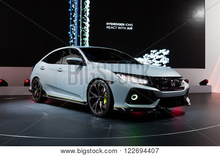 GENEVA, SWITZERLAND - MARCH 1: Geneva Motor Show on March 1, 2016 in Geneva, Honda Civic Prototype, front-side view