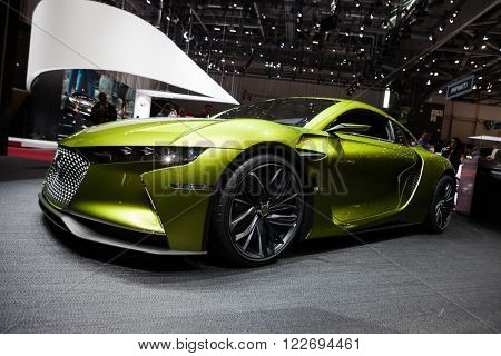 GENEVA, SWITZERLAND - MARCH 1: Geneva Motor Show on March 1, 2016 in Geneva, Citroen DS E Tense Electric Performance Concept, front-side view