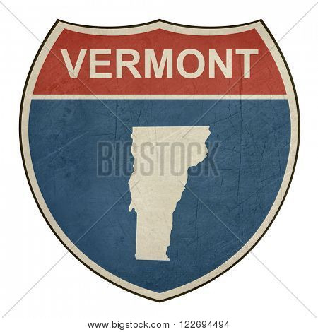Grunge Vermont American interstate highway road shield isolated on a white background.