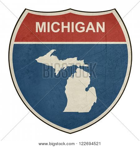 Michigan American interstate highway road shield isolated on a white background.