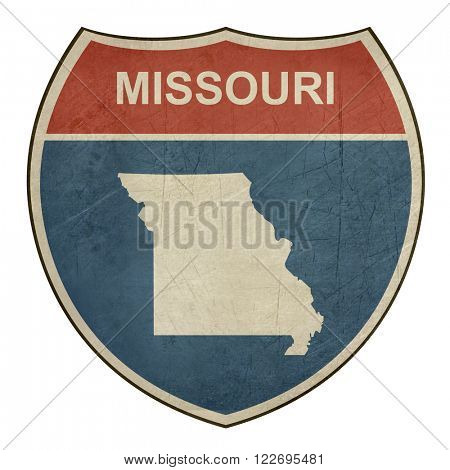 Missouri American interstate highway road shield isolated on a white background.
