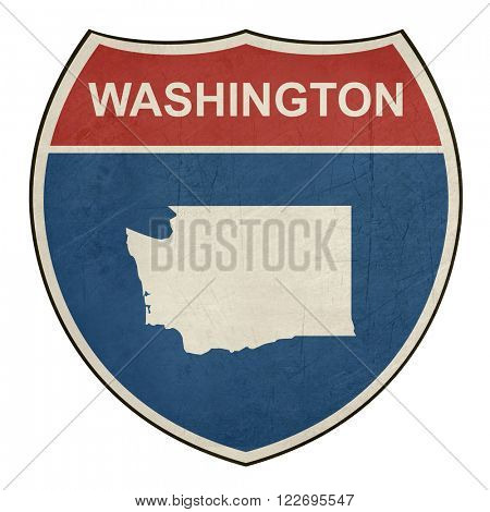 Grunge Washington American interstate highway road shield isolated on a white background.