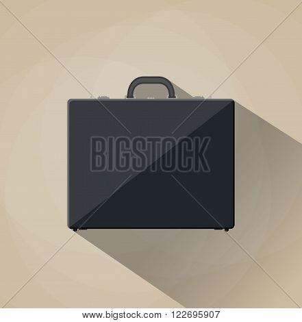 Briefcase vector illustration. Briefcase business. Briefcase in flat style. Briefcase icon. Briefcase isolated on colored background. Briefcase with lock. Briefcase male brown.