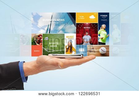 people, mass media, technology and business concept - close up of male hand with smartphone and news web page projection