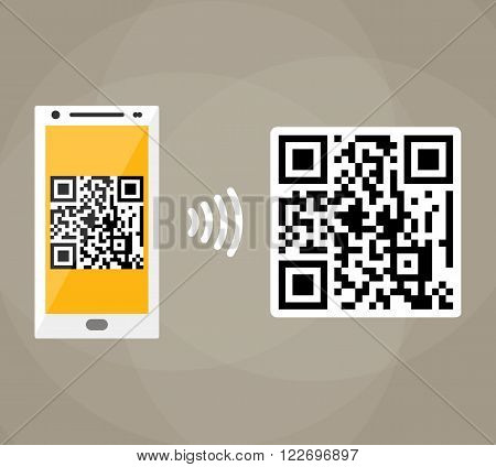 QR code scanning by mobile phone. Capture QR code on mobile phone. Symbol scanning qr code. Concept recognition qr code. Reading qr code. vector illustration in flat design on brown background