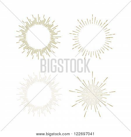 Retro Sun burst shapes. Vintage starburst logo, labels, badges. Sunburst minimal logo frames. Vector firework design elements isolated. Sun burst light logo. Minimal vintage gold firework burst.