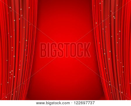 red curtains on red background with glittering stars. open curtains as movie presentation or cinema award announcement with space for text. vector template for Your design
