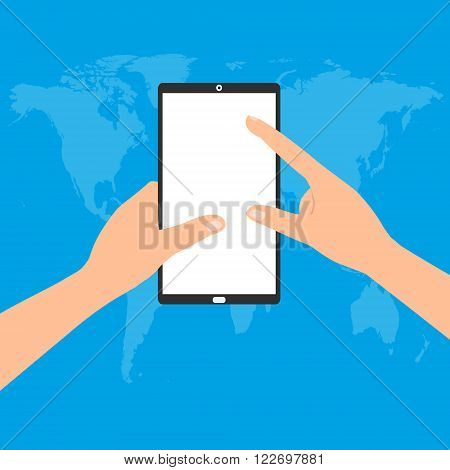 Human hand holding a tablet smartphone with point and touching a blank screen on world map blue background. Vector illustration flat design business technology concept.