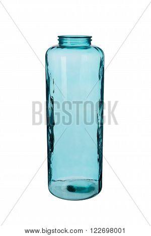 Turquoise Cylindrical Crystal Vase