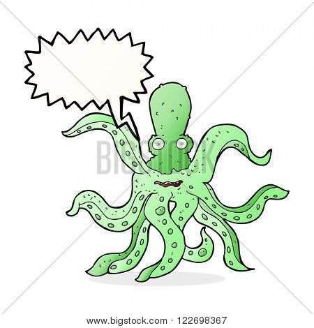 cartoon giant octopus with speech bubble