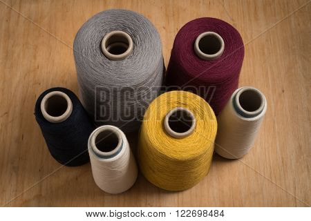 Spools Of Thread Shot At High Angle